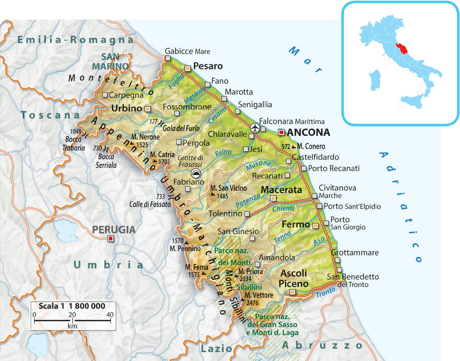 Immagini Cartina Marche.Cartina Marche